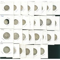1899 to 1936 10¢(13), 1874h to 1930 25¢(17). Lot includes various dates with very few duplicates and