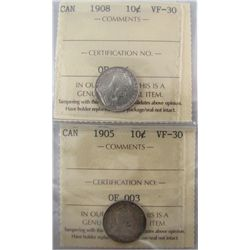 1901 & 1908 10¢ ICCS VF30. Lot of 2 coins.