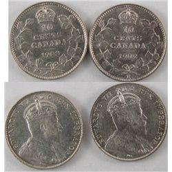 1902H & 1903H 10¢. Lot of two brilliant VF/EF examples. Purchased 1984 Hamilton CNA.