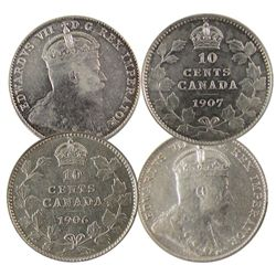 1906 & 1907 10¢. Lot of 2 full white EF issues. Purchased 1984 Hamilton CNA.
