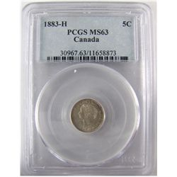 1883H 5¢ PCGS MS63. Light frost and lustre.