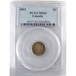1893 5¢ PCGS MS62. Shades of emerald green with under lying lustre.