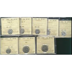 1900 5¢ Oval(2), 1901, 1902, 1904, 1914 & 1947 EF40 along with 1928 EF45. Lot of 8 coins all ICCS gr