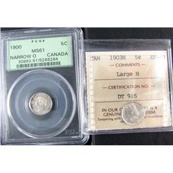 1900 5¢ MS61 & 1903H EF40. Lot of 2 coins PCGS and ICCS graded respectively.
