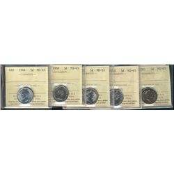 1944 5¢, 1958, 1991, 1970 & 2001 all ICCS MS65. ICCS holder damaged for 1991 pc. Lot of 5 coins.