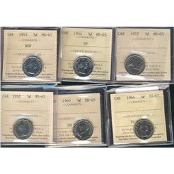 1953 5¢ NSF, 1954, 1957, 1958, 1960 & 1964 ICCS MS65. Lot of 6 coins.