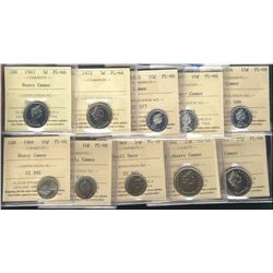 1965 HC, 1972 5¢, 1965 10¢, 1965, 1966(2), 1968 Nic, 1969, 1968 Silv 25¢ & 1970. Lot of 10 coins all