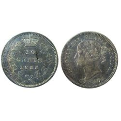 1858 10¢ ICCS AU58. Should be designated as Doubled date. A better example.