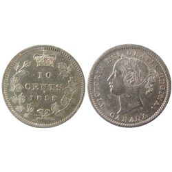 1858 10¢ 8 Over 5 ICCS AU55. Fully brilliant with lots of lustre. Excessively rare variety and rarel