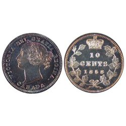 1858 10¢ Pln Edge ICCS SP65. Premium red and blue finish showing some Cameo contrast. Superb mirror-
