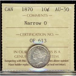 1870 10¢ Narrow O ICCS AU50.