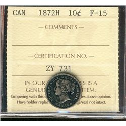 1872H 10¢ ICCS F15. Nice key date example.