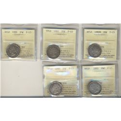 Nfld 1881 20¢, 1882H, 1885, 1888 & 1890 ICCS F15. Lot of 5 coins.