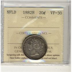 Nfld 1882H 20¢ ICCS VF30.