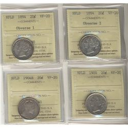 Nfld 1894 20¢ Obv 1, Obv. 2, 1900 & 1904H all ICCS VF20.