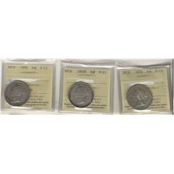 Nfld 1870 50¢, 1882H & 1900 ICCS F15. Lot of 3 coins.