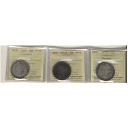 Nfld 1872H 50¢, 1876H & 1885 ICCS F15. Lot of 3 coins.