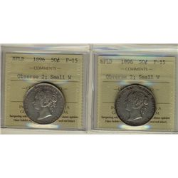 Nfld 1896 50¢ Obv 2 Sml W ICCS F15.  Lot of 2 coins.