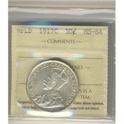 Nfld 1917c 50¢ ICCS MS64. Full white and lustrous example.