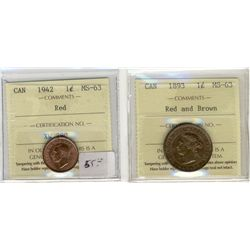 1893 1¢ & 1942 ICCS MS63RD.  Lot of 2 coins.