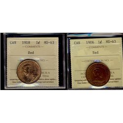 1906 & 1918 1¢ ICCS MS63RD. Lot of 2 coins.