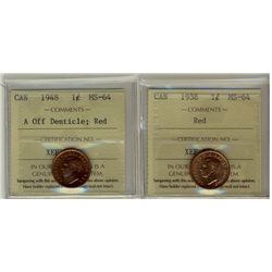 1938 & 1948 1¢ A off ICCS MS64RD.  Lot of 2 coins.