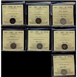 1870 5¢ FB, 1888, 1890H, 1893, 1896, 1900 & 1901 ICCS VF20. Lot of 7 coins.