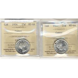 1940 & 1954 25¢ ICCS MS64 Cameo.  Lot of 2 coins.