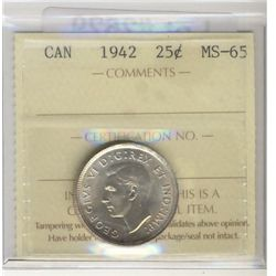 1942 25¢ ICCS MS65.  Lustrous with hint of gold.