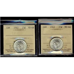 1942 25¢ ICCS MS64. Lot of 2 blast white coins.