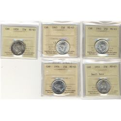 1942 25¢, 1943, 1950, 1953 SD & 1954 ICCS MS63.  Lot of 5 coins.