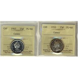 1958 & 1965 25¢ ICCS PL66 Cameo.  Lot of 2 coins.
