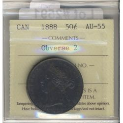 1888 50¢ Obv 2 ICCS AU55. PQ for grade with Intense tones. This is the rare obverse 2. Best example