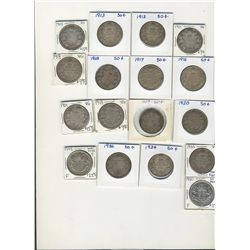 1911 to 1936 50¢ one of each excluding 1921. Includes 17 coins all G+ to Fine.  Also includes 1949 H