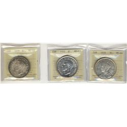1935 $1 MS64, 1937 MS63 & 1939 MS64.  Lot of 3 ICCS coins.