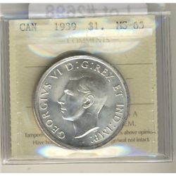 1939 $1 ICCS MS65.  Lustours white and great fields.