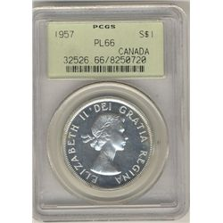 1957 $1 PCGS PL66.  Nice fields with superb reflective surfaces.