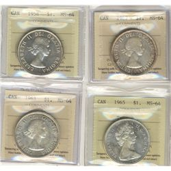 1958 $1, 1965, 1962 & 1963 ICCS MS64.  Lot of 4 coins.