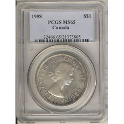 1958 $1 PCGS MS65.   Attractive autumn shades.