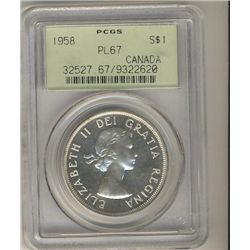 1958 $1 PCGS PL67, brilliant with great reflective surfaces. Scarce this nice.