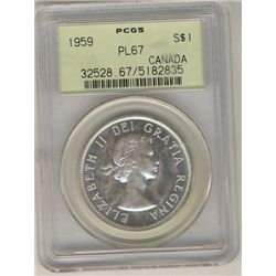 1959 $1 PCGS PL67  Nice fields with superb reflective surfaces.
