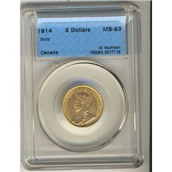 1914 $5 Gold CCCS MS63.  Lustrous example. Key date.