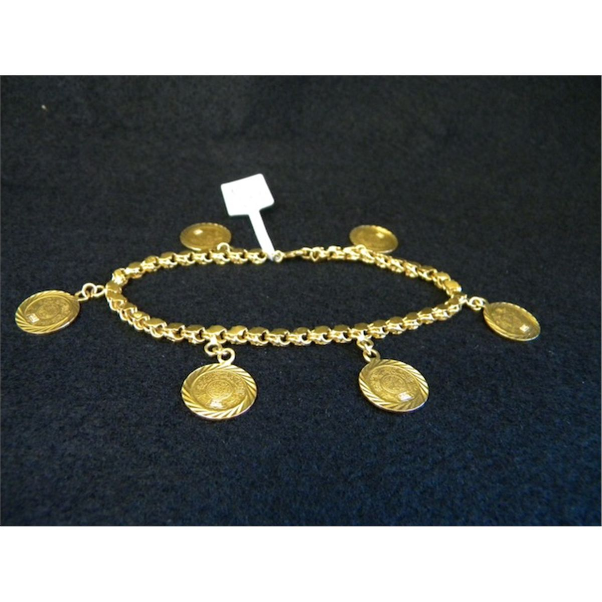 22k Yellow Gold Charm Bracelet With 6 Small Coin Charms