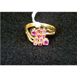 18k Yellow Gold Ruby Cluster Ring