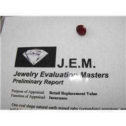 6.5 ct. Earth Mined Ruby - $ 1400 GG GIA