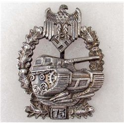 GERMAN NAZI TANK ASSAULT BADGE - AWARDED FOR 75 ASSAULTS