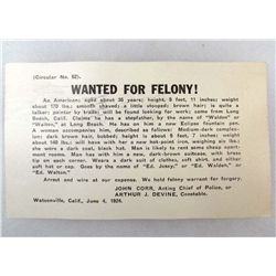 1924 WANTED POSTCARD - FELONY