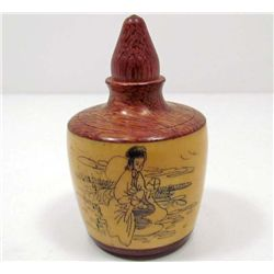CHINESE OX BONE/WOOD SNUFF BOTTLE
