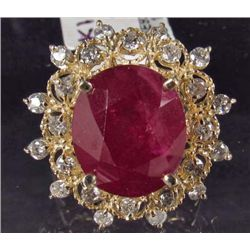 14K GOLD RUBY AND DIAMOND RING - SIZE 8