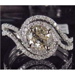 18K WHITE GOLD LADIES DIAMOND RING - SIZE 7.25